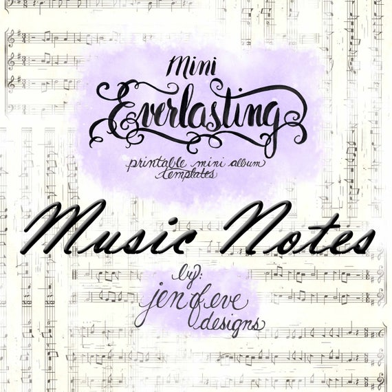 Mini Everlasting Printable Mini album Template in Music Notes and PLAIN