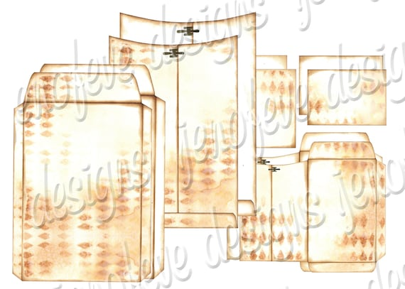 6x9 Printable Envelope Album Distressed Harlequin & Plain Templates