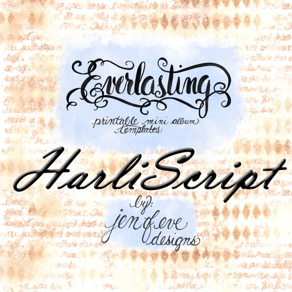 Everlasting Printable Mini album Template in HARLISCRIPT and PLAIN