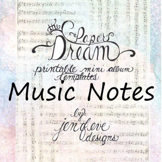 The Paper Dream Printable Mini Album Templates in Music Notes and Plain