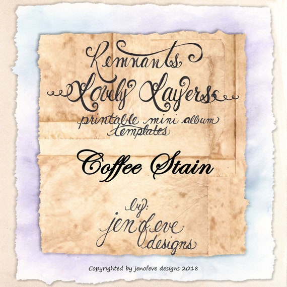 Remnants ~ Lovely Layers Printable Mini album Template in Coffee Stain & PLAIN