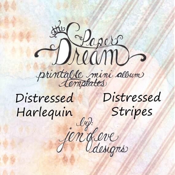 The Paper Dream Printable Mini Album Templates in Distressed Harlequin, Stripes, and Plain