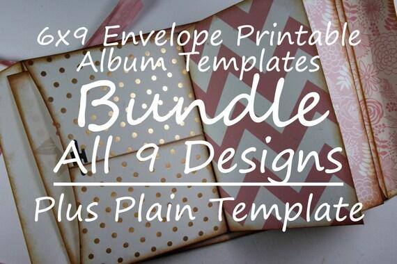 BUNDLE 6x9 Printable Envelope Templates  9 Original PATTERNS plus The Plain Template