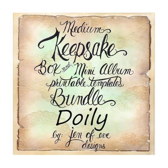MEDIUM Keepsake Box & Mini Album Printable Template in Doily and Plain