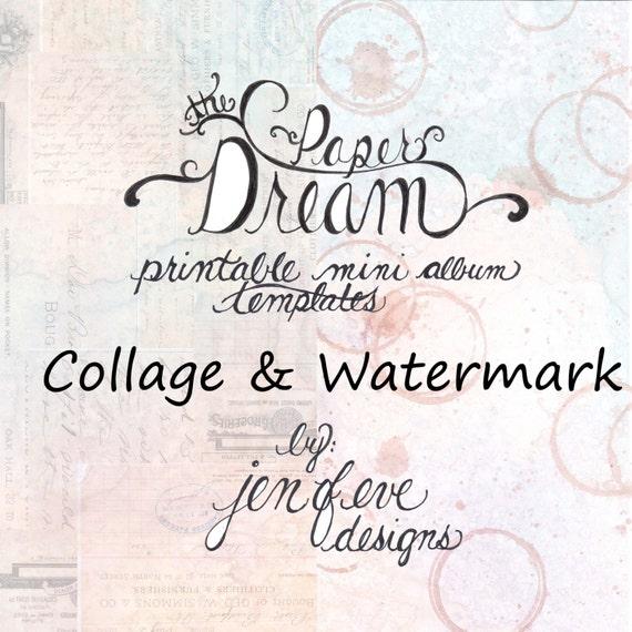 The Paper Dream Printable Mini Album Templates in Collage, Watermark, and Plain
