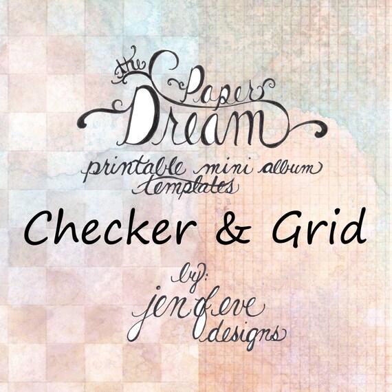 The Paper Dream Printable Mini Album Templates in Checker, Grid, and Plain