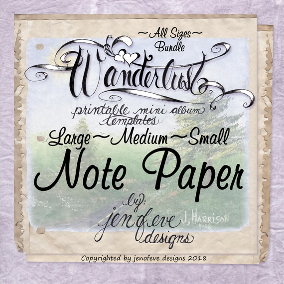 Wanderlust~Note Paper & Plain~ALL SIZES Bundle~Printable Mini album Templates
