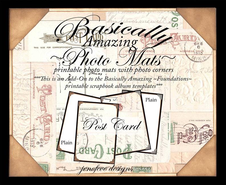 Basically Amazing~Photo Mats~Post Card /& Plain~ADD-ON Printable photo mats