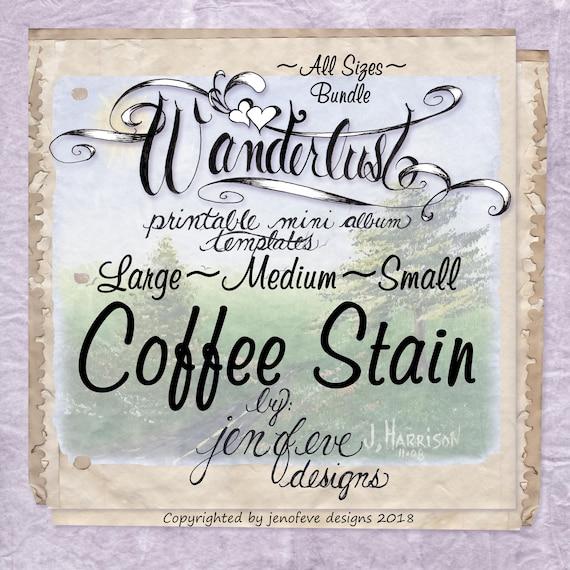 Wanderlust~COFFEE STAIN & Plain~ALL Sizes Bundle~Printable Mini album Templates