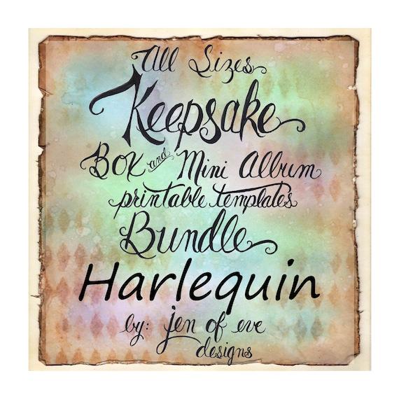 ALL SIZES Keepsake Box & Mini Album Printable Template Bundle in Harlequin and Plain