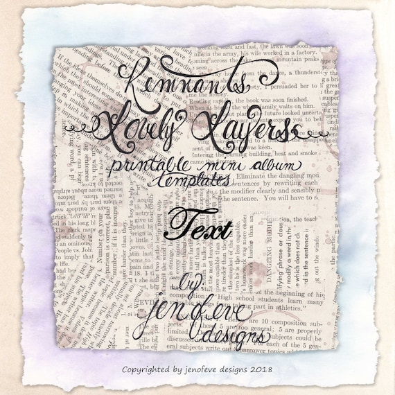 Remnants ~ Lovely Layers Printable Mini album Template in Text & PLAIN