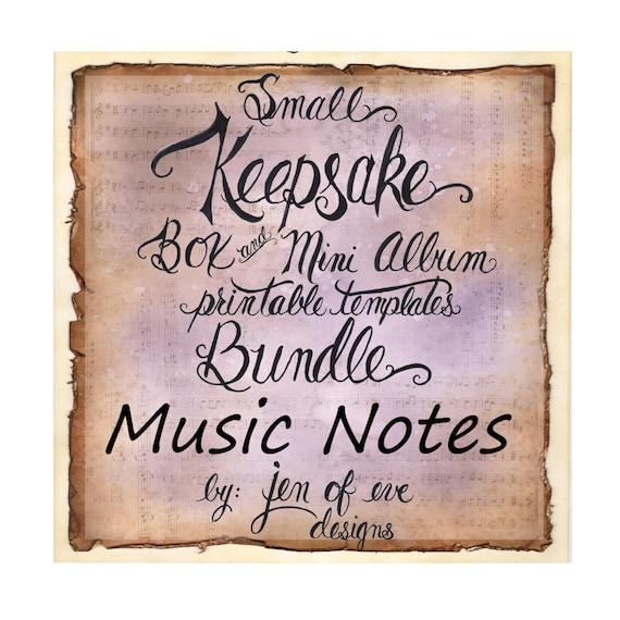 SMALL Keepsake Box & Mini Album Printable Template in MUSIC Notes and Plain