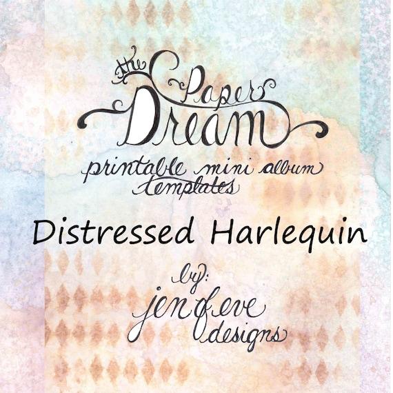 The Paper Dream Printable Mini Album Templates in Distressed Harlequin and Plain