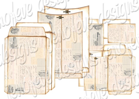 6x9 Printable Envelope Album  Collage & Plain Templates