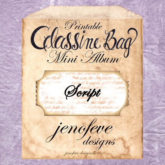 Glassine Bag~Script, Coffee Stained, & Plain~Printable Mini album Templates
