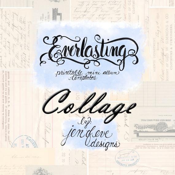 Everlasting Printable Mini album Template in Collage and PLAIN