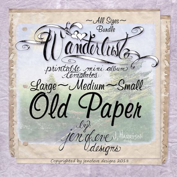 Wanderlust~OLD PAPER & Plain~ALL sizes Bundle~Printable Mini album Templates