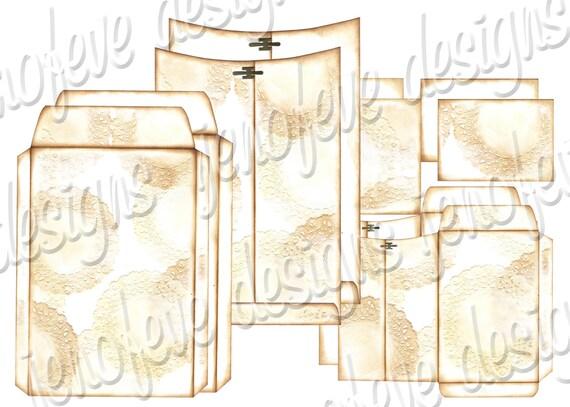 6x9 Printable Envelope Album Doily & Plain Templates