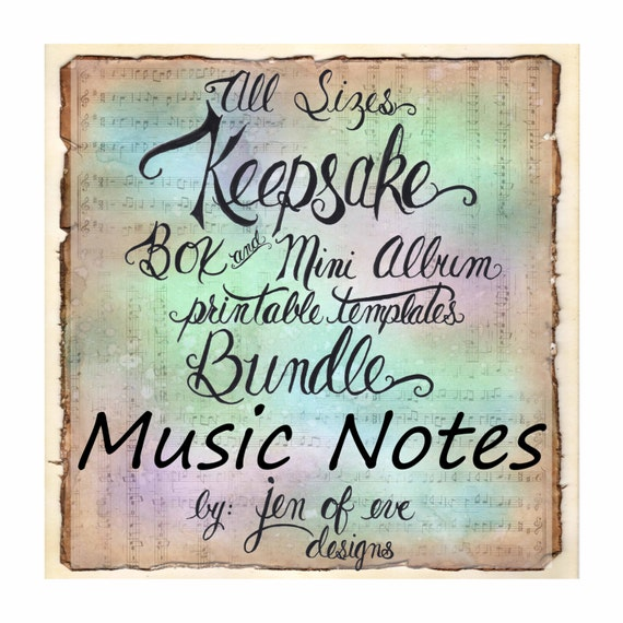 ALL SIZES Keepsake Box & Mini Album Printable Template Bundle in MUSIC Notes and Plain