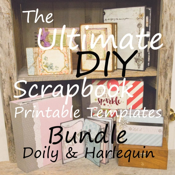 The Ultimate DIY Scrapbook Printable Templates Harlequin, Doily, Plain, + Add On Mats