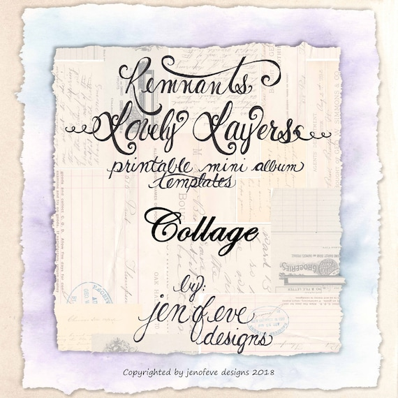 Remnants ~ Lovely Layers Printable Mini album Template in COLLAGE & PLAIN