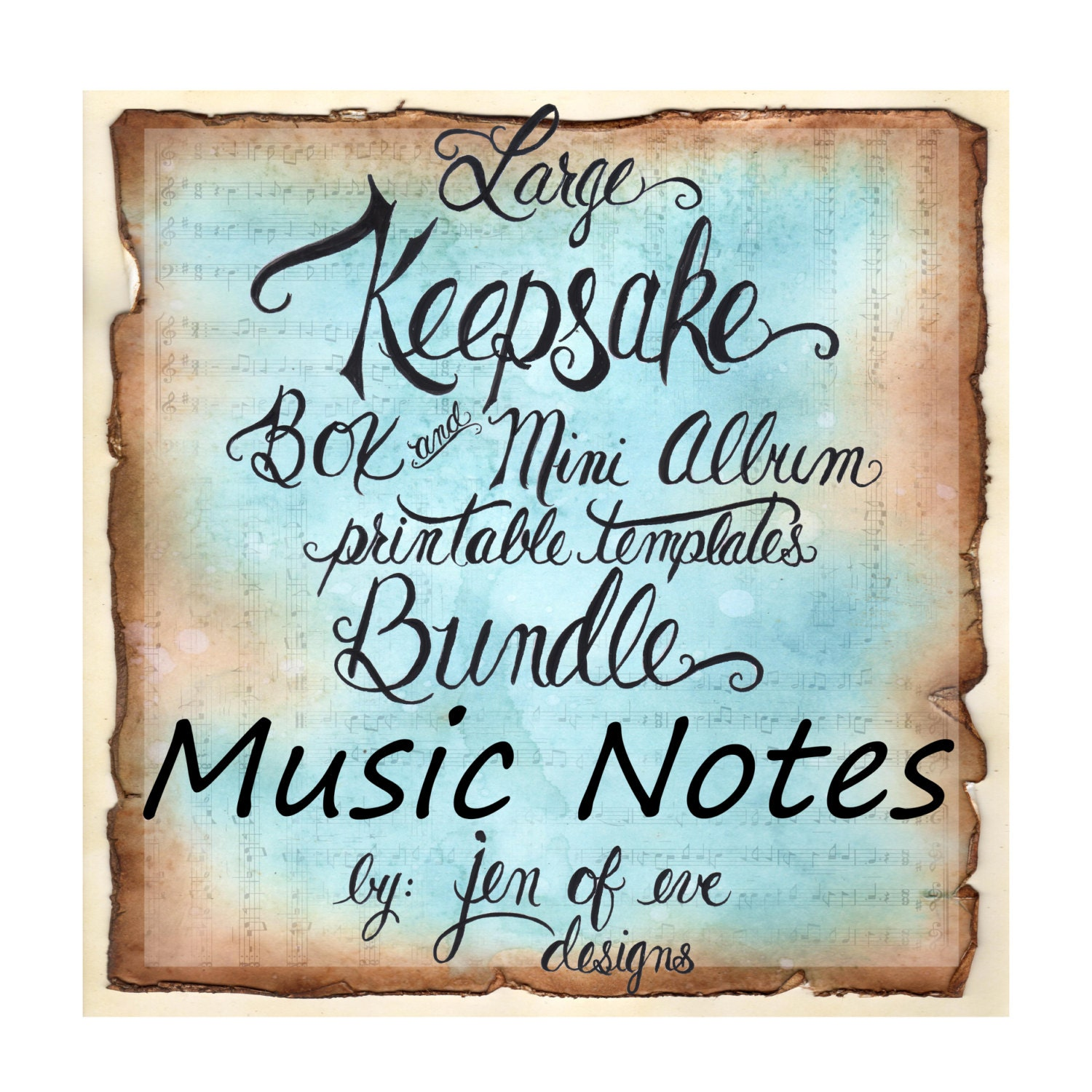 photo about Large Printable Music Notes titled Huge Keepsake Box Mini Al Printable Template in just