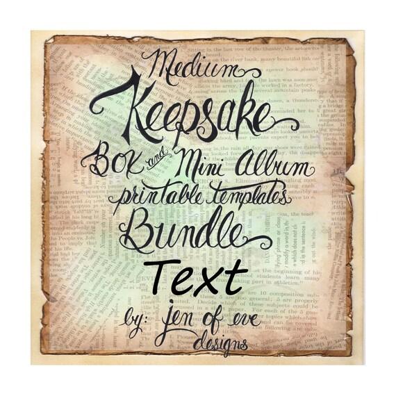 MEDIUM Keepsake Box & Mini Album Printable Template in Text and Plain