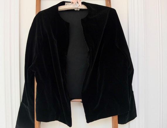 Black velvet jacket / vintage velvet jacket / 1950