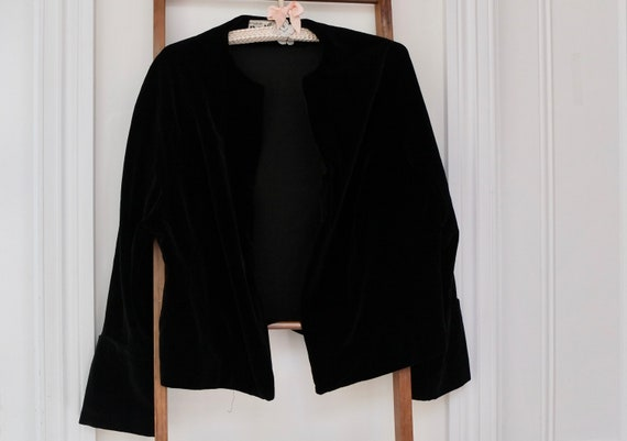 Black velvet jacket / vintage velvet jacket / 195… - image 2