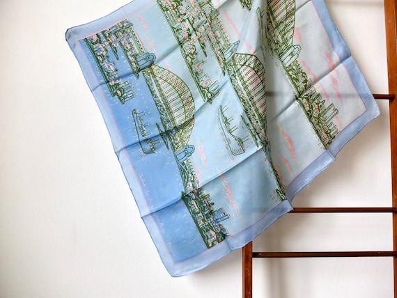 Sydney Harbour Bridge vintage souvenir scarf, silk