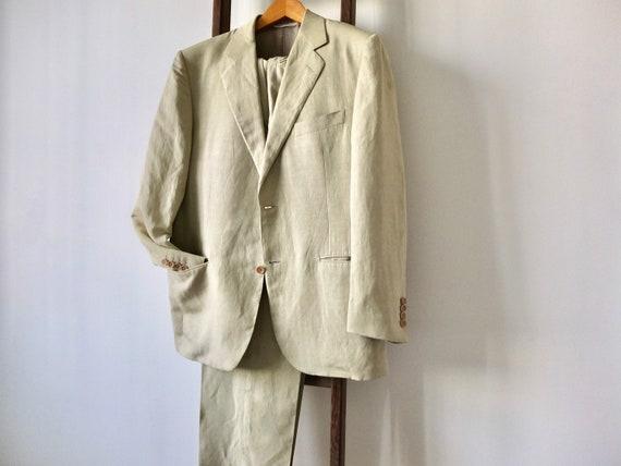 Men's linen suit / vintage Canali men's suit / men