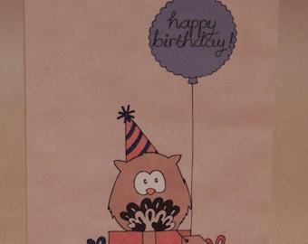 Owl birthday card / greetings card birthday presents design