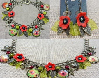 Field of Poppies necklace set - Earrings, Necklace and bracelet - Handmade