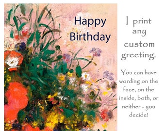 Customised Art Card Customized Greetings Custom Wedding Birthday Artists Floral