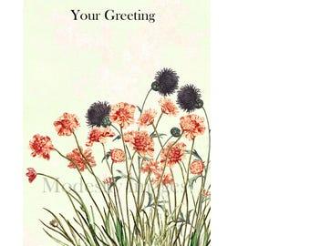 Floral Greeting Cardhandmade Flowers Card Fine Art Handmade Customised Artist Birthday GreetingsMothers Day