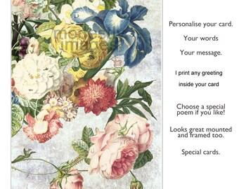 Flowers in art card, Floral birthday card, Personalised card, Greeting Card, handmade birthday card, Anniversary card,  Handmade Card,