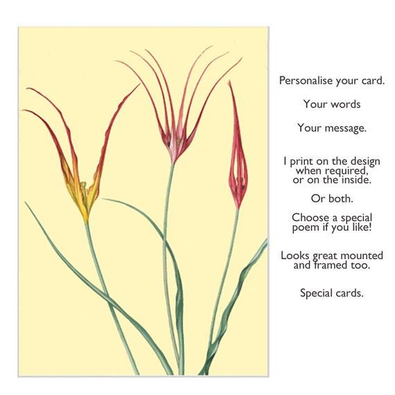 Flowers In Art Floral Card Custom Greeting Handmade