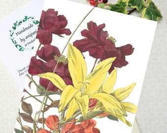 Personalized floral greeting card, custom birthday card