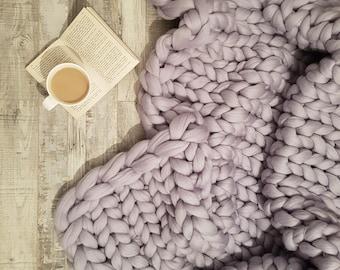 Chunky 100% Merino Wool Blanket - UK Seller