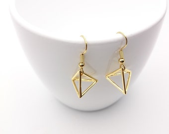 Gold Geometric Triangle Earrings steel closures//Small Gold plated 24k Triangle pendant 3D hypoallergenic//Gold triangle minimal dangle