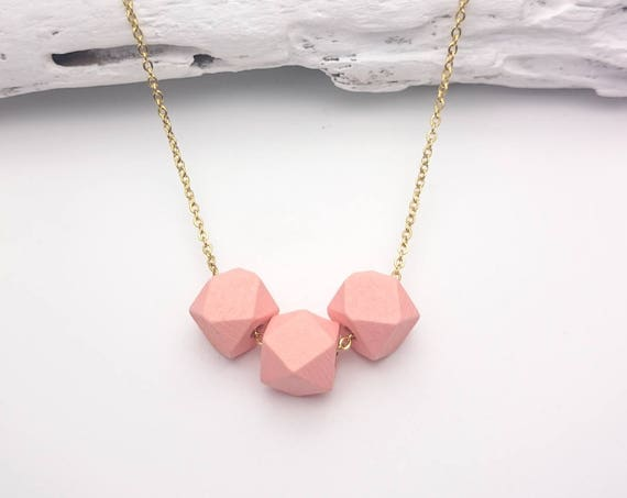 Peach coral gold geometric wood necklace, Wood handpainted faceted beads 12mm gold steel chain, Little hexagon wood necklace hypoallergenic