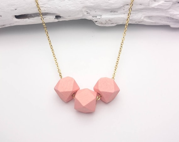 Peach coral Necklace gold geometric wood hand-painted faceted beads 12mm gold steel chain