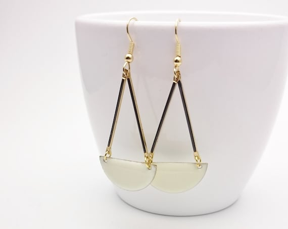 Off White and Black Enamel semi circle earrings gold stainless steel closures//Hypoallergenic earrings//Black and White Earrings