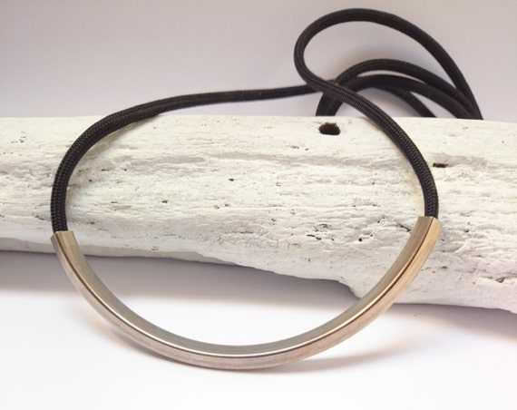 Rope Bar Necklace. Black cord and silver brass tube hypoallergenic and minimalist long necklace