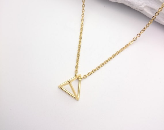Triangle Necklace 3D Gold plated 24K pendant and stainless steel chain