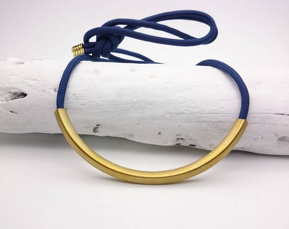 Blue Rope gold brass tube Necklace//Long Necklace cord gold tube pendant//Fabric brass necklace//Blue gold necklace//Blue cord Tube necklace