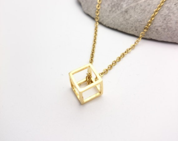 Gold plated 24k brass cube geometric Necklace and stainless steel chain