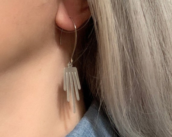 Silver Earrings VERTICAL dangle stainless steel