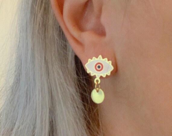 Evil Eye Studs Earrings Color Enamel Gold Stainless Steel White & Red