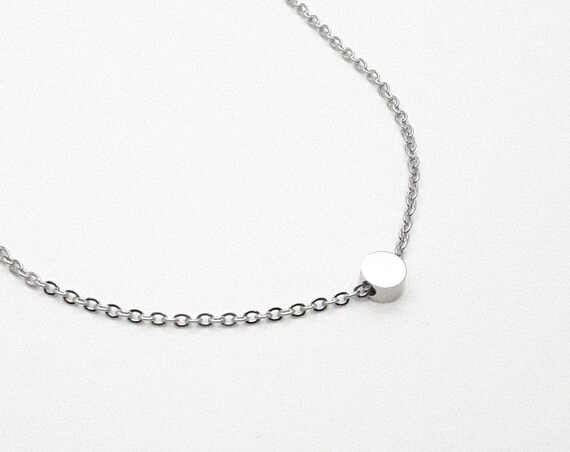 Silver tiny round dot bead charm necklace silver plated stainless steel 5 mm, minimal and hypoallergenic